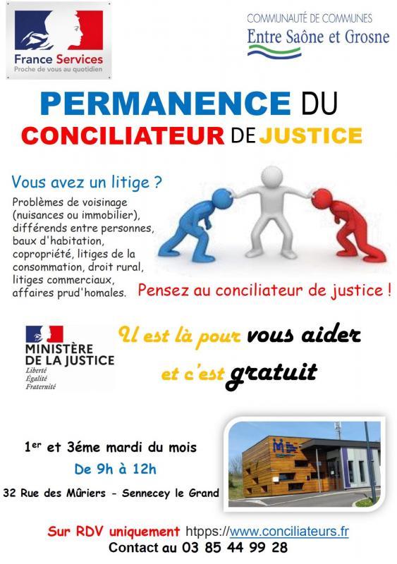 Affiche permanence conciliateur de justice