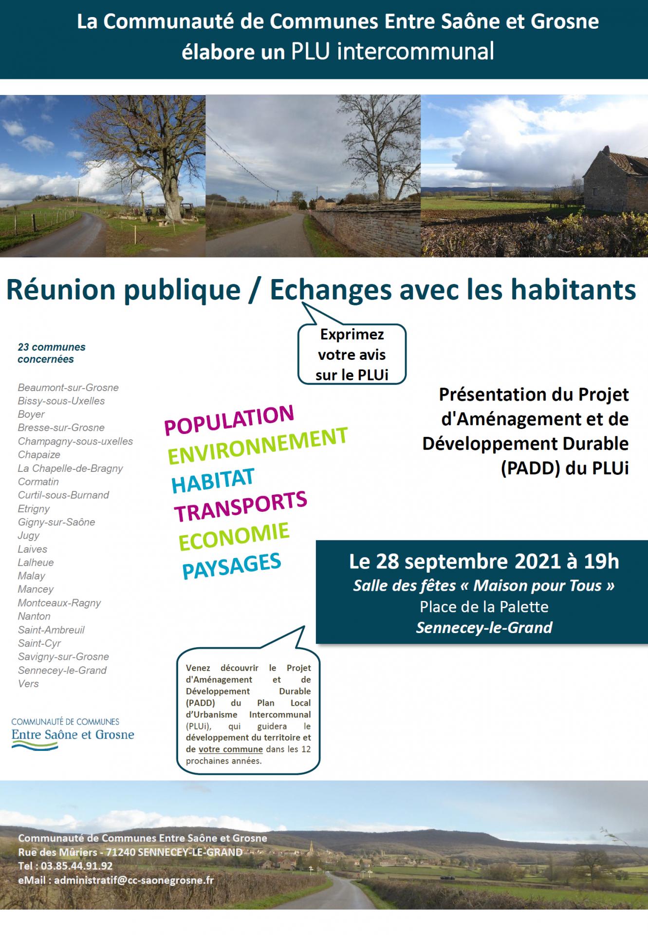 Affiche reunion publique PADD PLUi CC Entre Saône et Grosne
