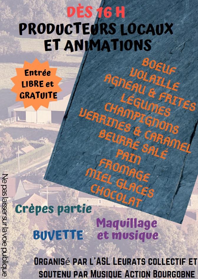 Animations et producteurs locaux concert lalheue 1er juin 2019
