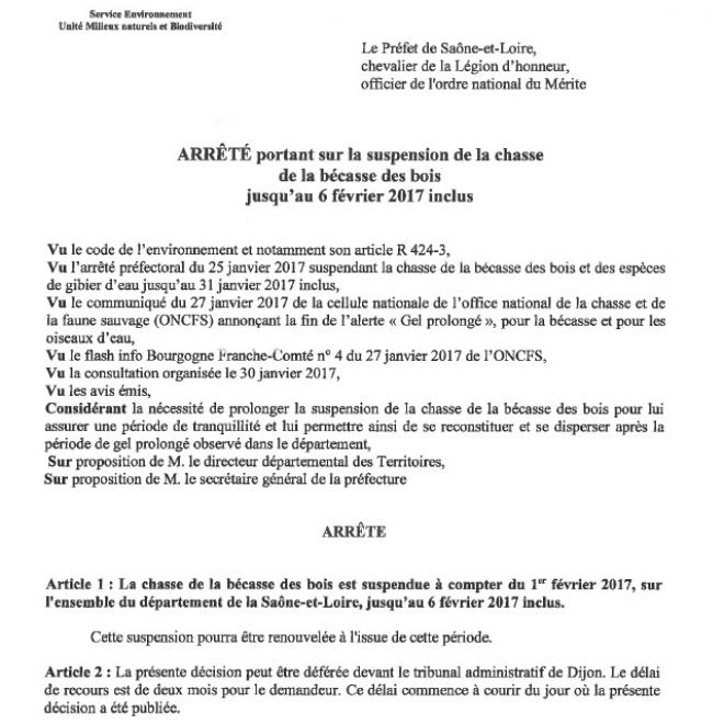 Arrete chasse fermeture becasse 2017