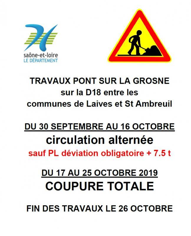 Travaux octobre 2019 pont grosne laives saint ambreuil